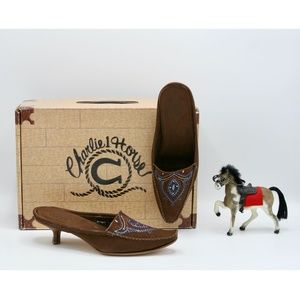 LUCCHESE Painted Suede Moccasin Mules